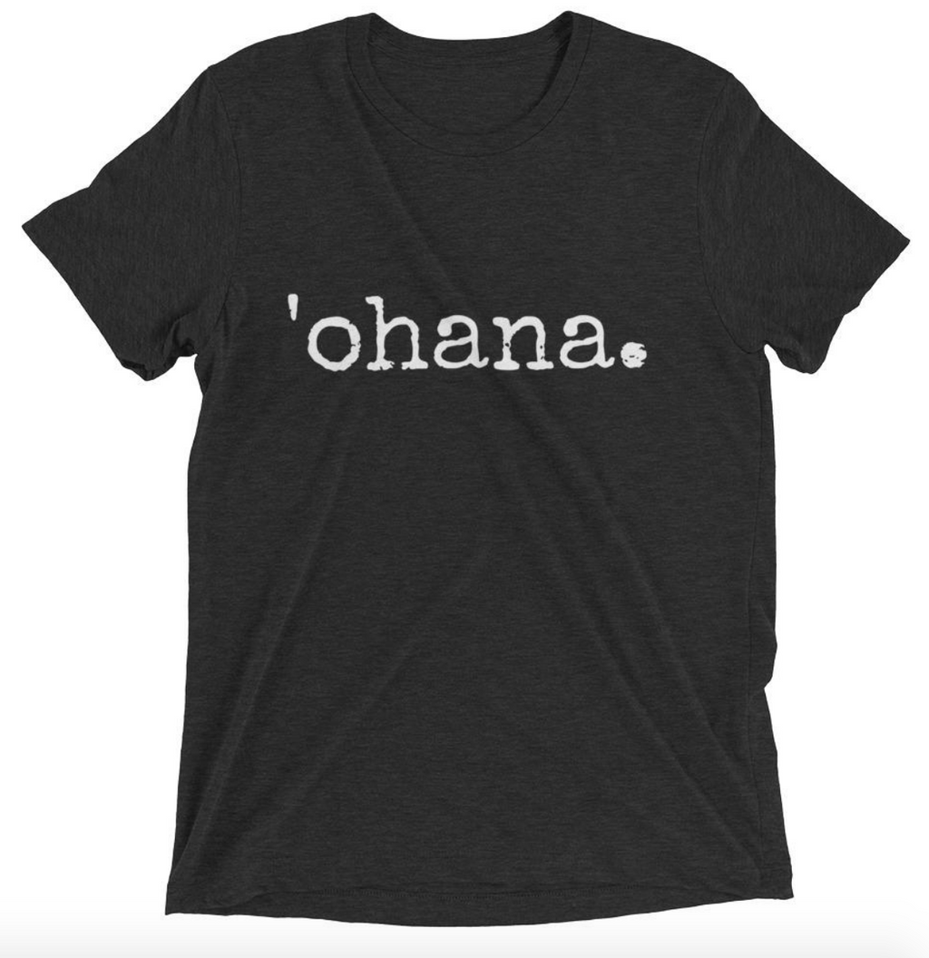 black tshirt that says 'ohana on it in white font