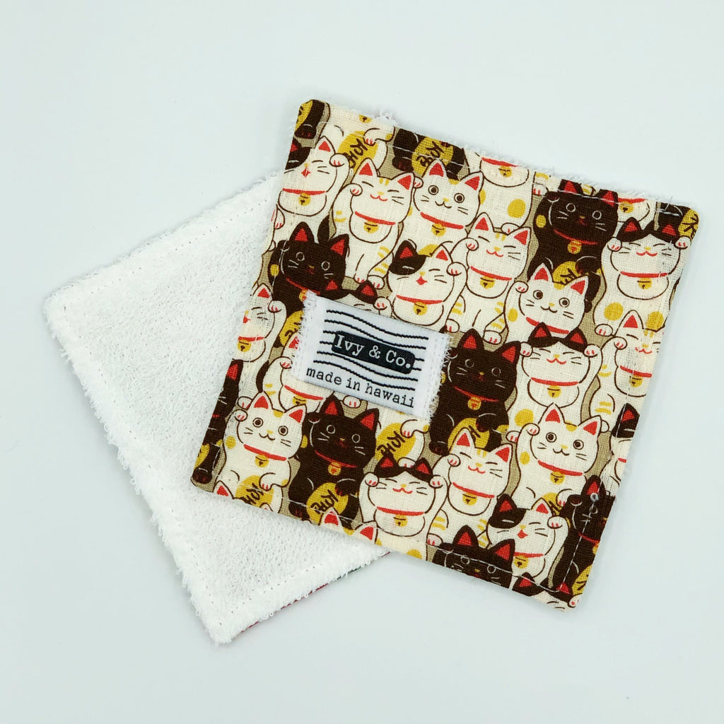 Coaster / Mini Wash Cloth - Maneki-neko