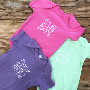 "pink, mint green and purple baby girl Ivy & Co. onesies with white lettering that says ""happy Girls are the Prettiest"""