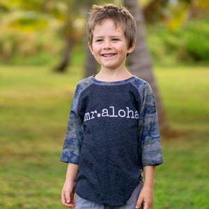 mr. aloha - TODDLER & YOUTH camouflage baseball T-Shirt