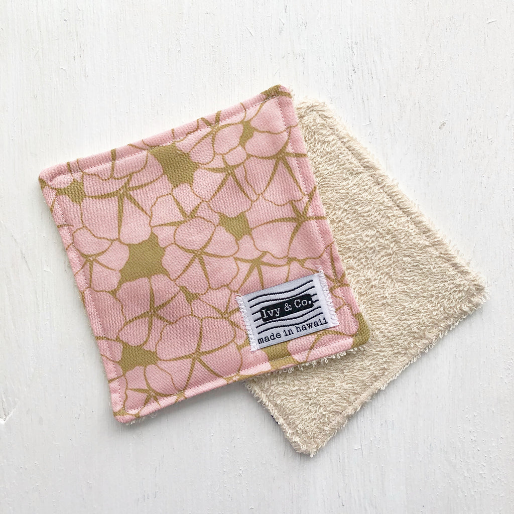 Coaster / Mini Wash Cloth - Pink Flower - Made To Order