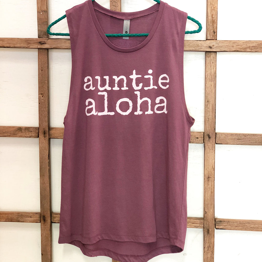 auntie aloha Eggplant Muscle Tank Top - ADULT Sizes - SALE