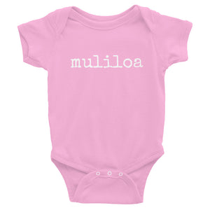 pink baby girl Ivy & Co. onesie with white writing that says muliloa or youngest child