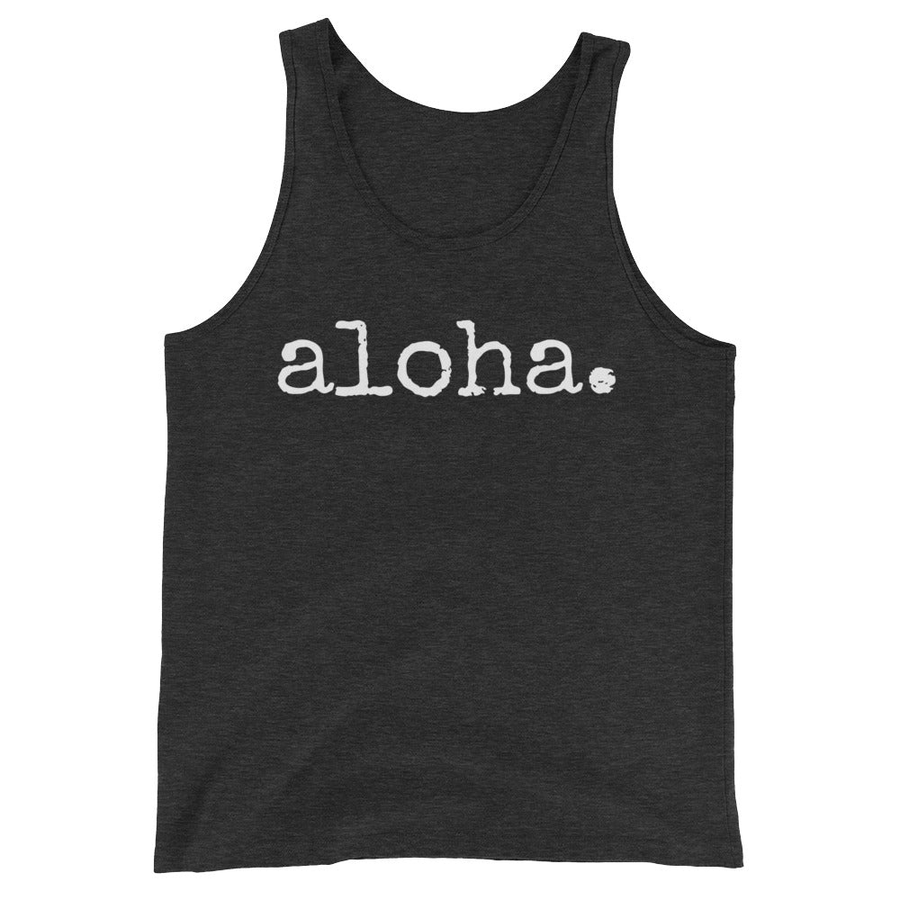 unisex gender neutral tank top with white font that says aloha