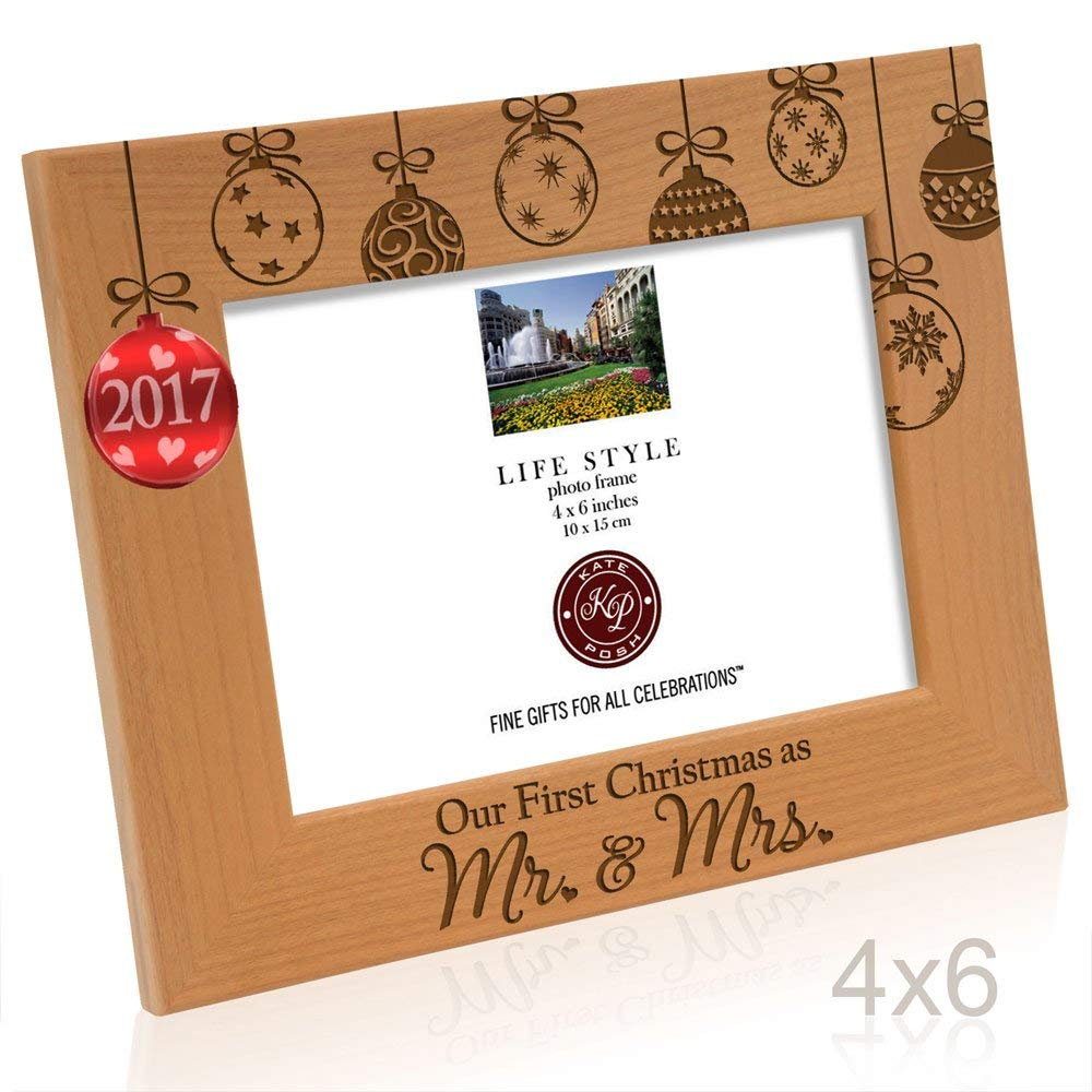 Kate Posh - 2017 Inlaid Ornament Picture Frame, Our First Christmas as Mr. & Mrs. Engraved Natural Wood Photo Frame, Couples Gifts, First Year Anniversary Wedding Gifts (4x6-Horizontal)