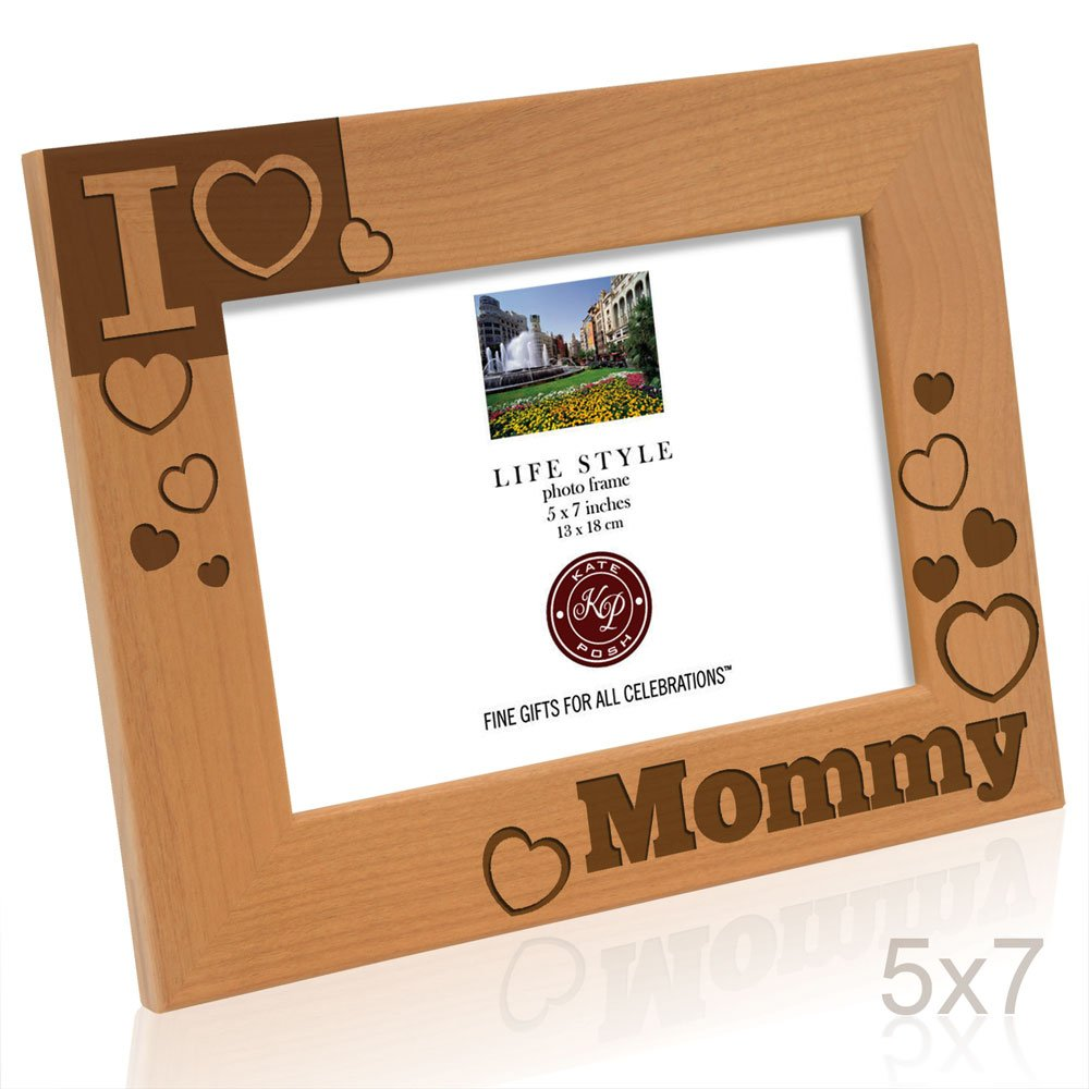 Kate Posh - I Love Mommy Engraved Natural Wood Picture Frame - I Heart Mommy Photo Frame, Birthday Gifts, Christmas Gifts, New Mom Gifts, Nursery Decor Gifts, New Baby Gifts