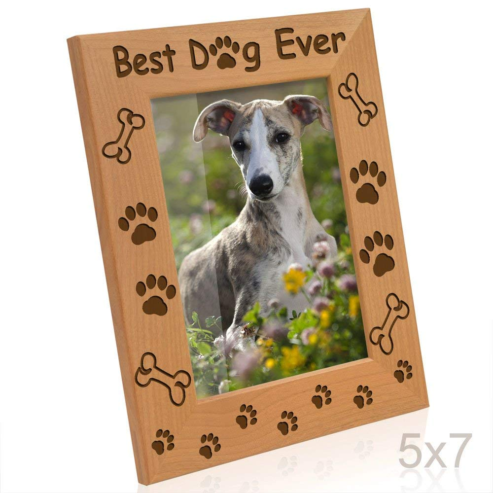 Kate Posh - Best Dog Ever - Dog Paws and Bones Engraved Picture Frame (5x7-Vertical)