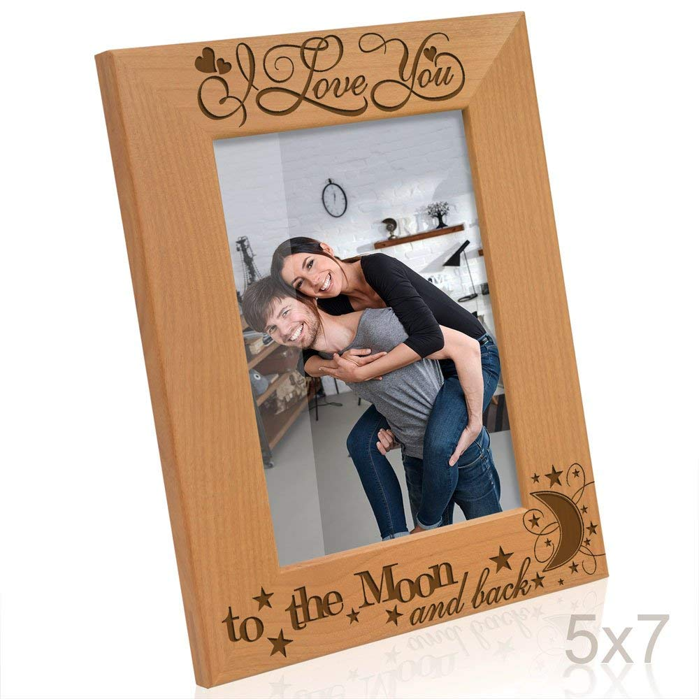 Kate Posh - I love you to the moon and back, to infinity & beyond, forever & ever - Engraved Solid Wood Picture Frame (5x7-Horizontal)