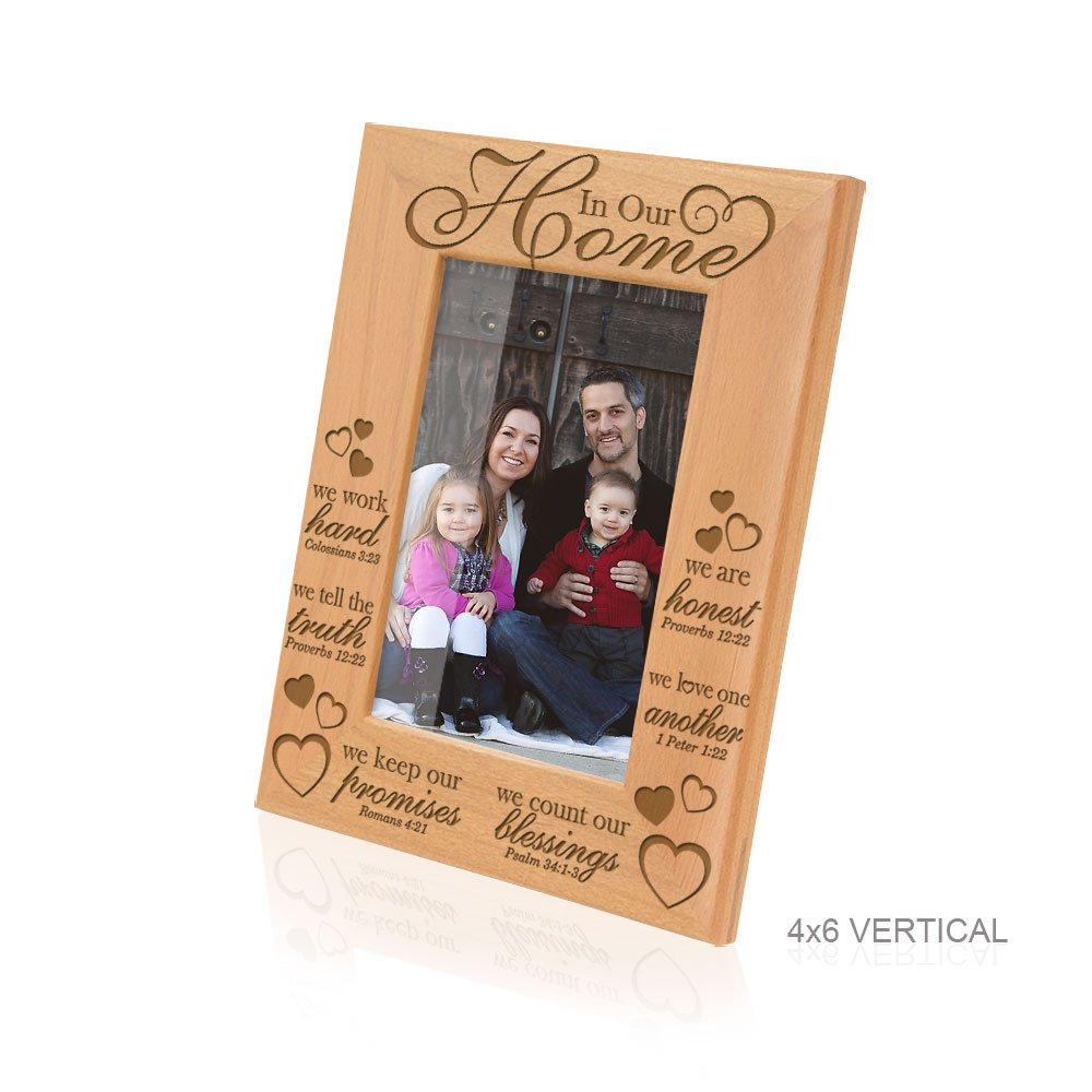 Kate Posh - In Our Home Bible Verses Engraved Natural Wood Picture Frame - Inspirational Gifts, Family Gifts, Christmas Gifts, Religious Gifts, Christian Gifts, Housewarming Gifts