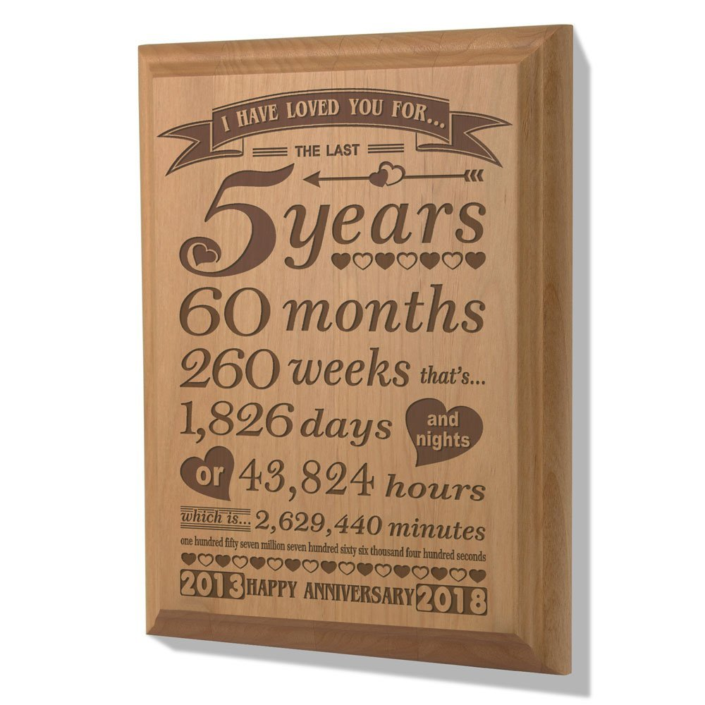 Kate Posh - 5th Anniversary Engraved Natural Wood Plaque, 5th Wedding Anniversary Gifts for Her, for Him, Anniversary Gifts for Couple, 5 Years of Marriage, 5 Years Together as Husband & Wife