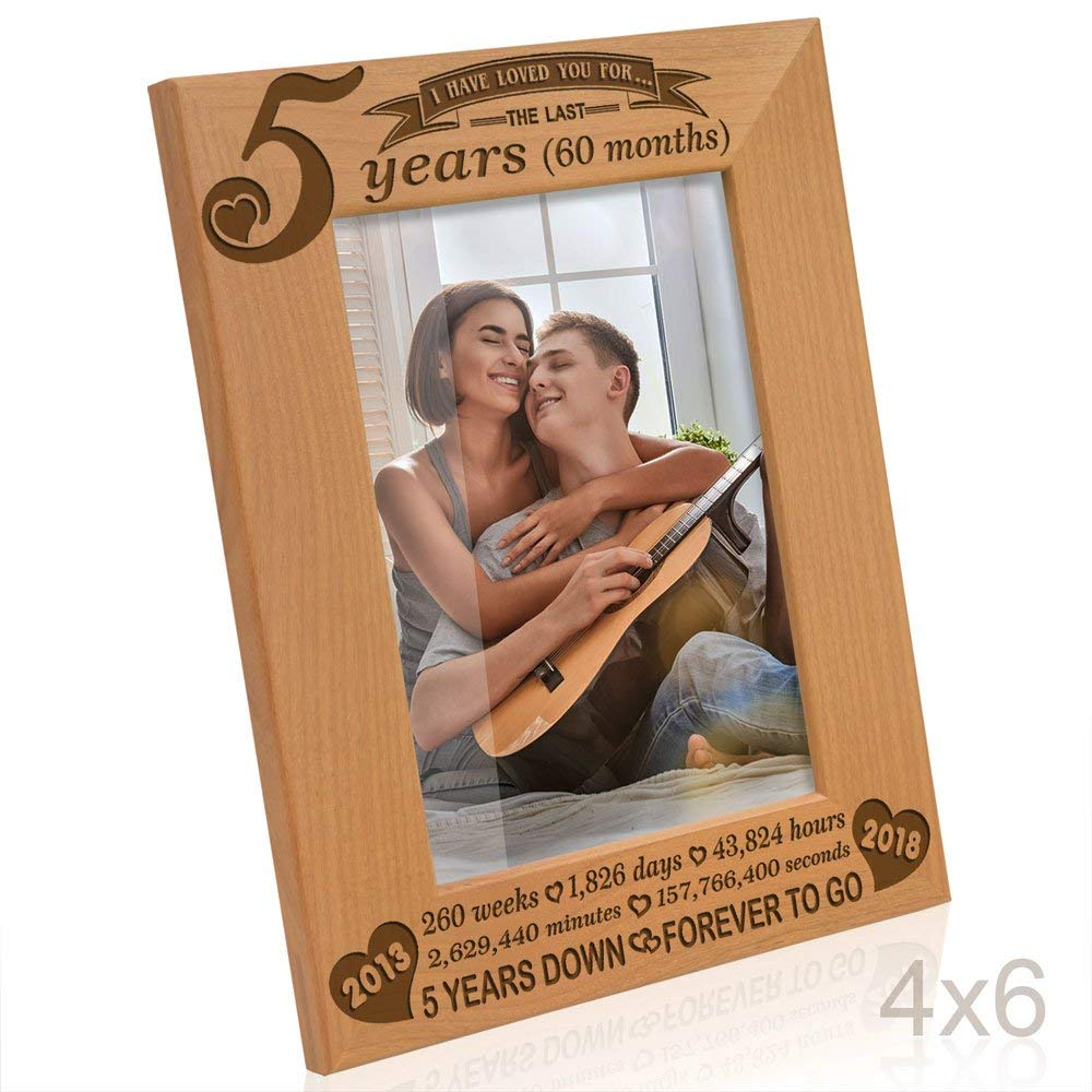 Kate Posh - 5 years (60 months) Anniversary - Includes 2013 (Marriage Year) and 2018 (5th Anniversary Year) - Engraved Natural Solid Wood Picture Frame and Wall Decor (4x6-Vertical)