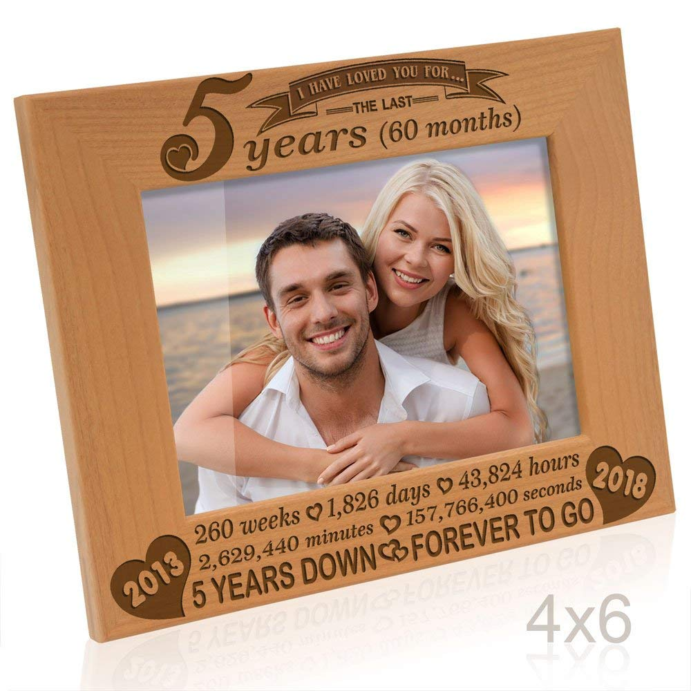 Kate Posh - 5 years (60 months) Anniversary - Includes 2013 (Marriage Year) and 2018 (5th Anniversary Year) - Engraved Natural Solid Wood Picture Frame and Wall Decor (4x6-Horizontal)