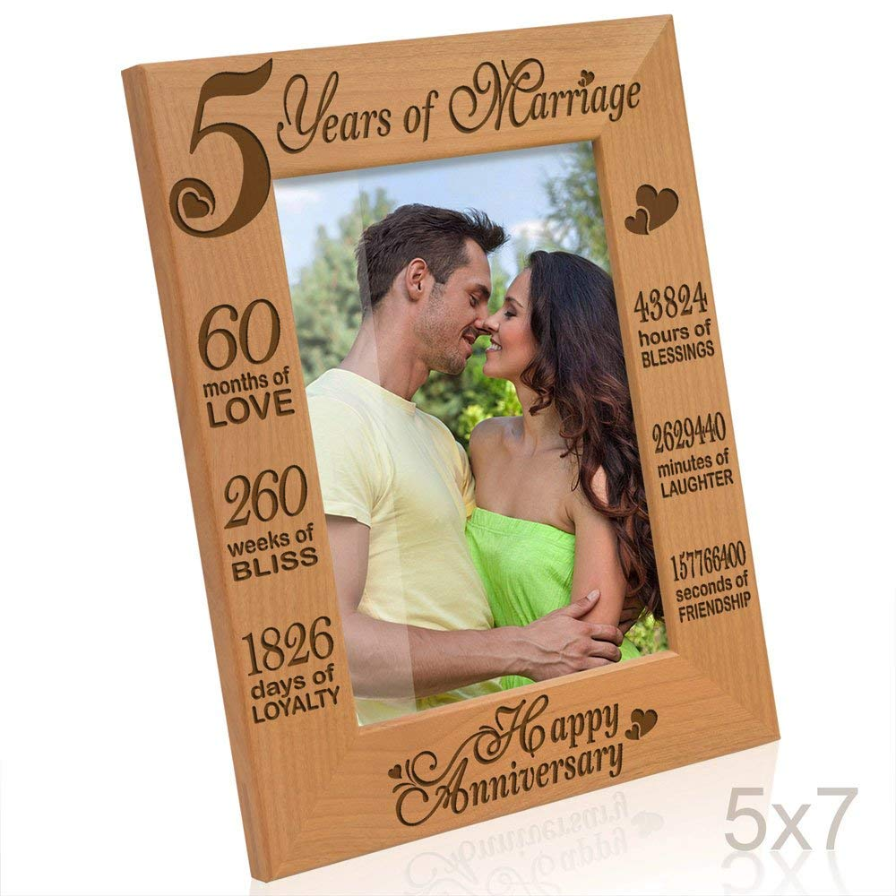 Kate Posh - 5 Years of Marriage Photo Frame - Happy 5th Anniversary Gift Wood - Engraved Natural Solid Wood Picture Frame (5x7-Vertical)