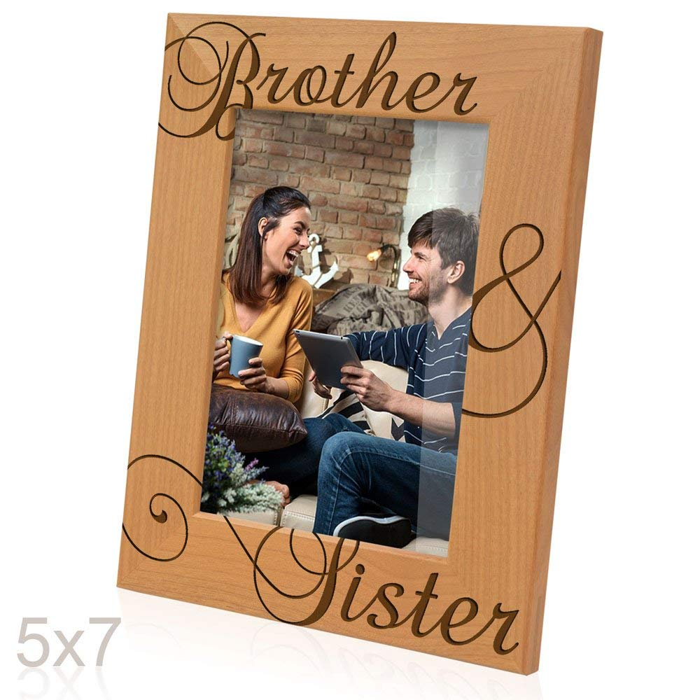 Kate Posh - Brother & Sister Engraved Natural Wood Picture Frame, Siblings Gifts, Christmas Gifts, Wedding Gifts, Little Sister, Little Brother, Big Sister, Big Brother (5x7-Horizontal)