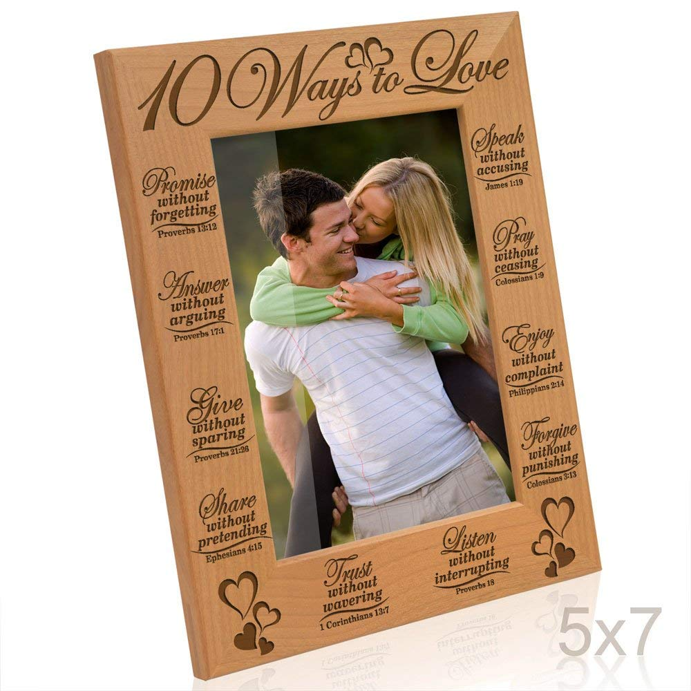 Kate Posh - 10 Ways to Love Bible Verses - Promise, Answer, Give, Share, Trust, Listen, Forgive, Speak, Pray & Enjoy - Picture Frame (5x7 Vertical)