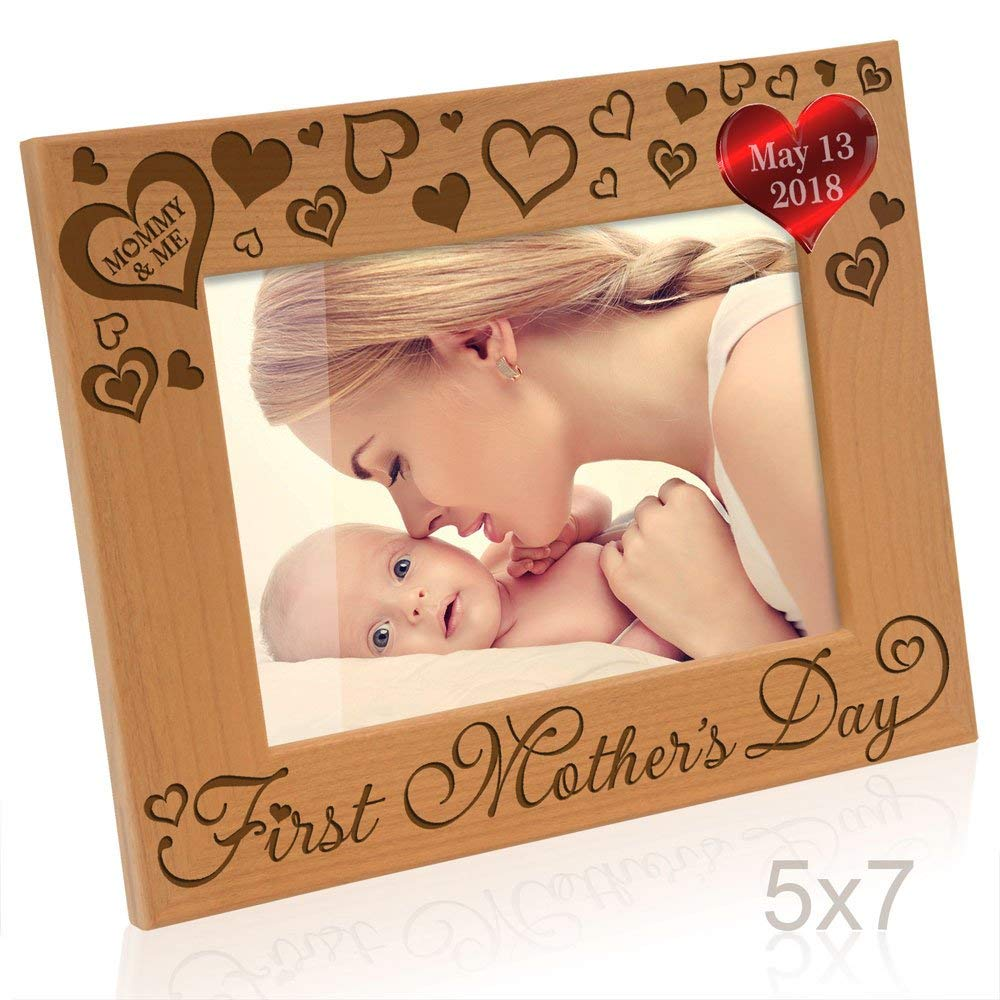 "Kate Posh - First Mother's Day with Mommy & Me - Engraved Solid Wood Picture Frame (5"" x 7"" Horizontal)"