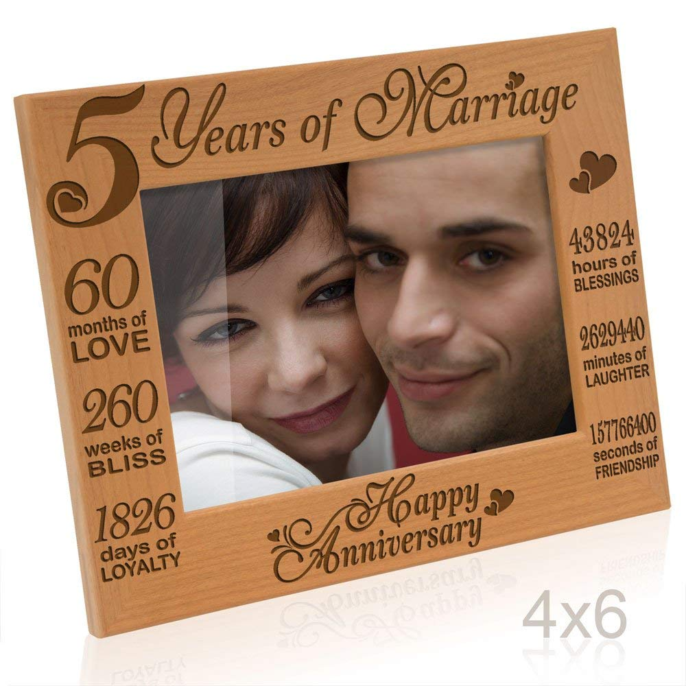 Kate Posh - 5 Years of Marriage Photo Frame - Happy 5th Anniversary Gift Wood - Engraved Natural Solid Wood Picture Frame (4x6-Horizontal)