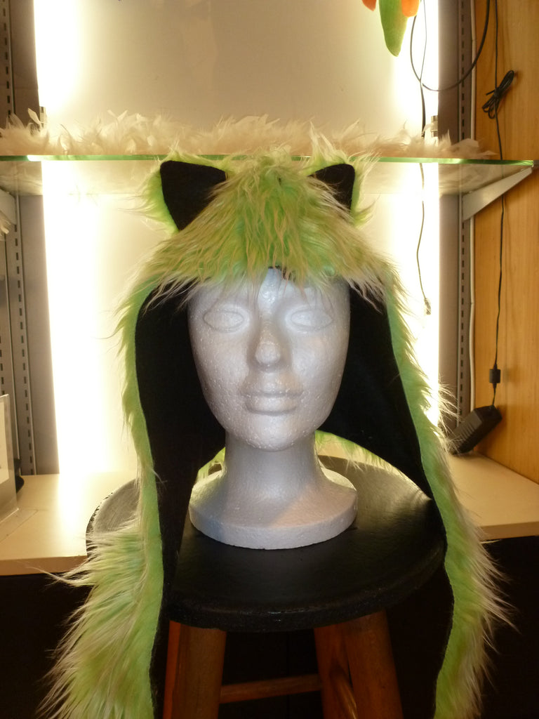 Green Furry Hat With Ears