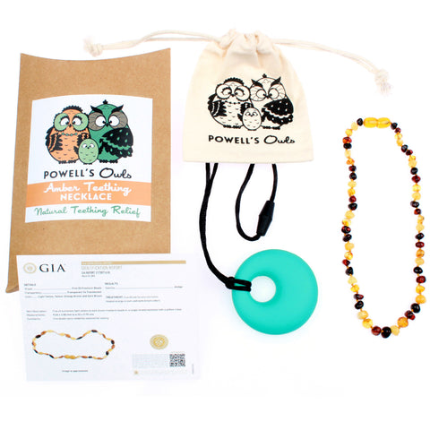 Amber Teething Necklace - Multicolor Polished - Baltic Amber Gift Set