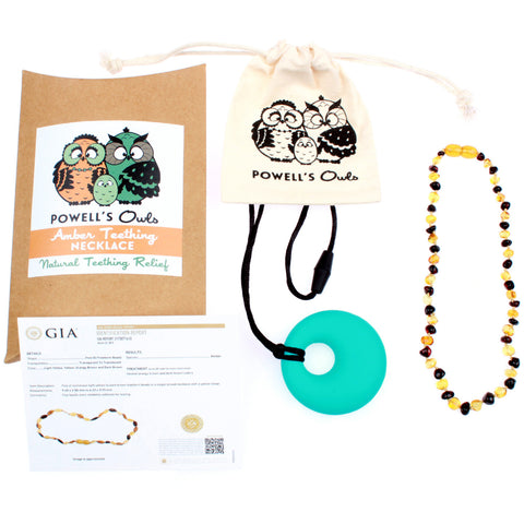 Amber Teething Necklace - Honey & Cherry - Baltic Amber Gift Set