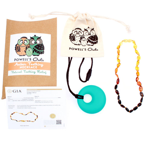 Amber Teething Necklace - Rainbow Beans - Baltic Amber Gift Set