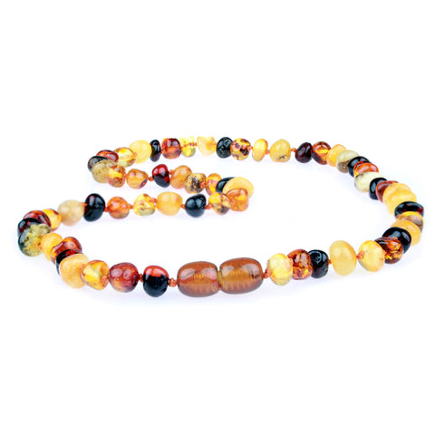 Amber Necklace for Women, Men, & Adults - Multicolor Polished - Baltic Amber