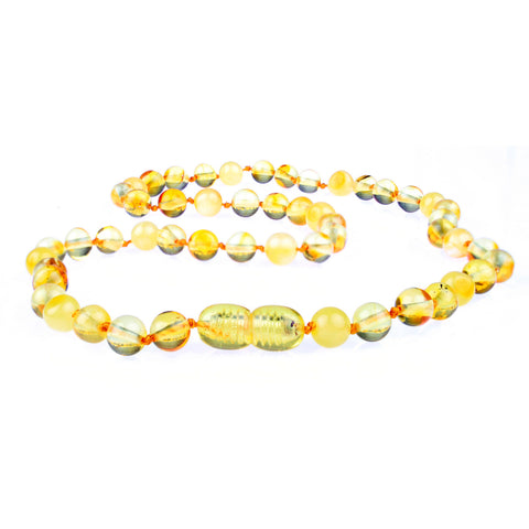 Amber Necklace for Women, Men, & Adults - Milk & Honey Mixed Polished - Baltic Amber
