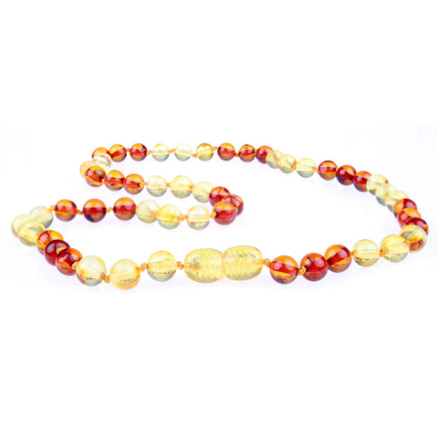 Amber Necklace for Women, Men, & Adults - Honey & Cognac Mixed Polished - Baltic Amber