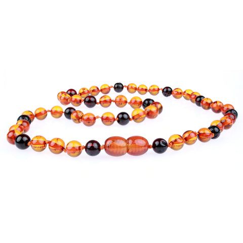 Amber Necklace for Women, Men, & Adults - Cognac & Cherry Mixed Polished - Baltic Amber