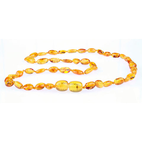 Amber Necklace for Women, Men, & Adults - Polished Honey Beans - Baltic Amber
