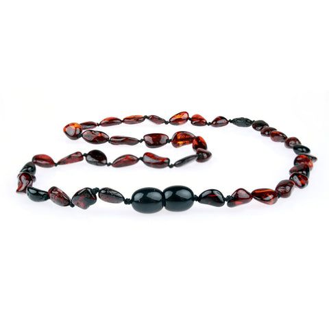 Amber Necklace for Women, Men, & Adults - Polished Cherry Beans - Baltic Amber