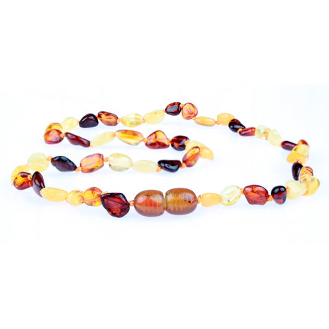 Amber Necklace for Women, Men, & Adults - Polished Multicolor Beans - Baltic Amber