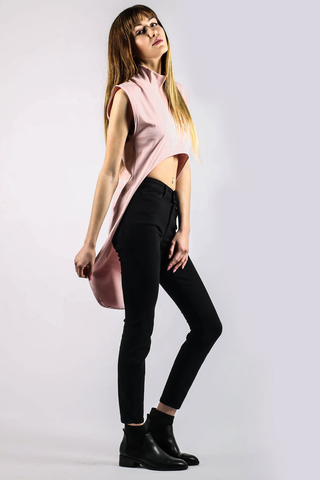 Turtle Neck Hybride  Rose Quartz Crop Top