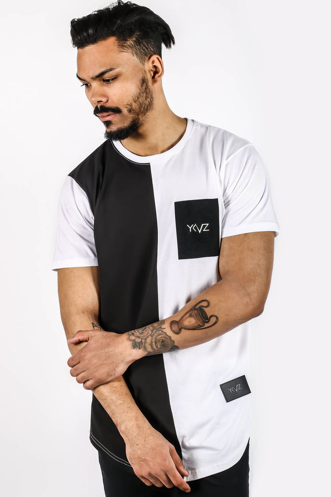 Velvet Rectangle Corner Signature YKVZ Balck & White Tee