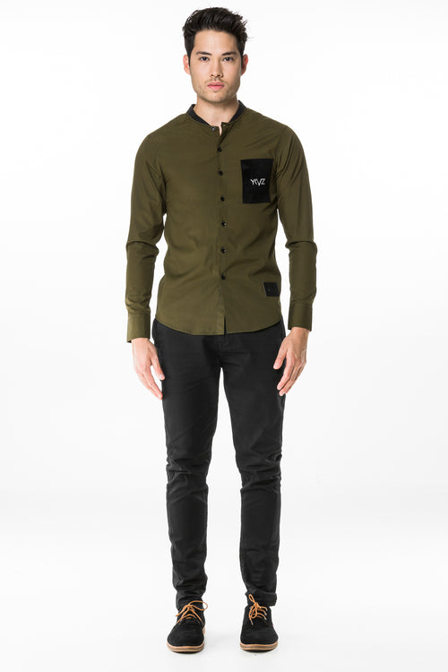 Mao collar Shirt   ( Khaki )