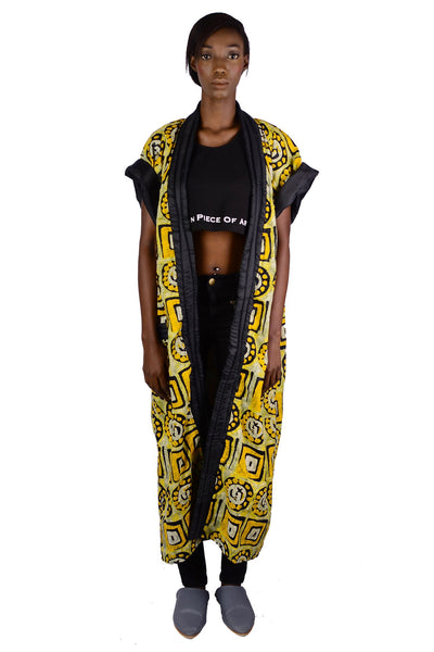 Tamtam Logo Signature On Yellow African Print Kimono
