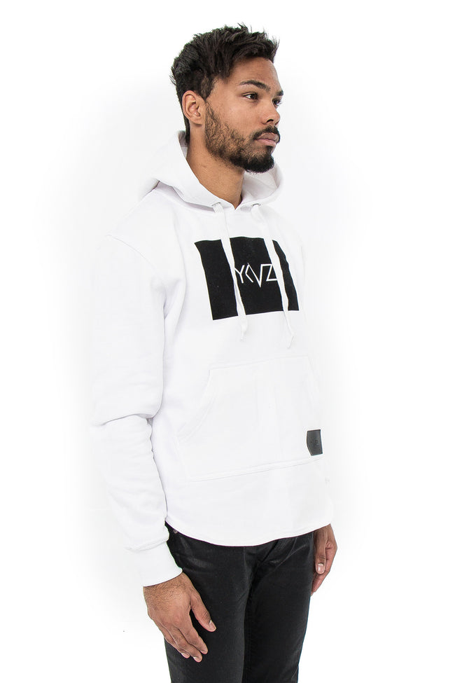 Velvet Rectangle Signature YKVZ White Hooded Sweatshirt