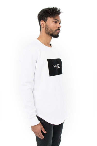 Velvet Rectangle Signature YKVZ White Sweatshirt