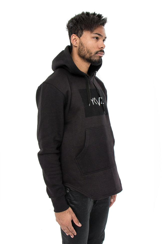 Velvet Rectangle Signature YKVZ Black Hooded Sweatshirt