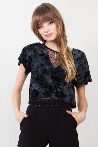 Black and Blue Lace Top