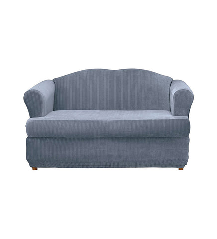 Surefit 35828 2 Peice Stretch Pinstripe T Cushion Loveseat, French Blue