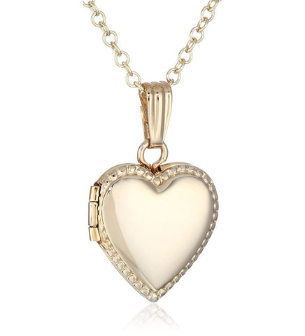 14k Girls Gold-Filled Children's Petite Beaded Edge Heart Locket Necklace, 15