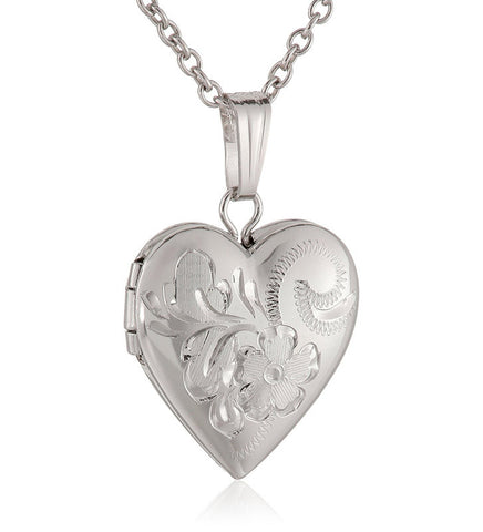 Children's Sterling Silver Hand Engraved Heart Locket Necklace, 15'