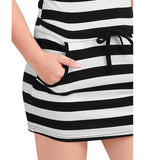 Allegra K Women Short Sleeve Stripe Drawstring Mini Tee Dresses with Pockets