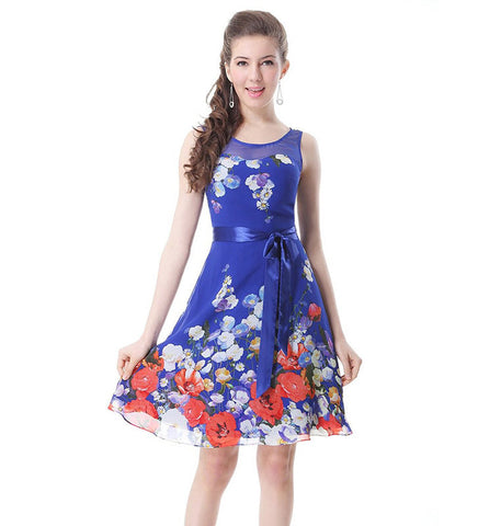 Ever Pretty Floral Printed Round Neckline Bow Padded Short