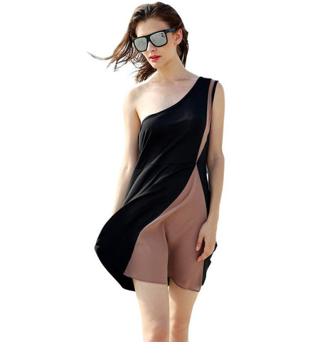 Zeagoo Women Chiffon One Shoulder Sleeveless High Waist Contrast Color Short Dress