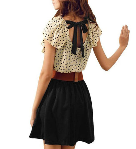 Allegra K Women Dots Print Flouncing Patchwork Dress W Waist Belt
