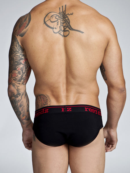 Fly Front Brief in Black