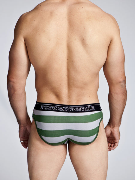 Fly Front Brief in Green & Grey Stripe