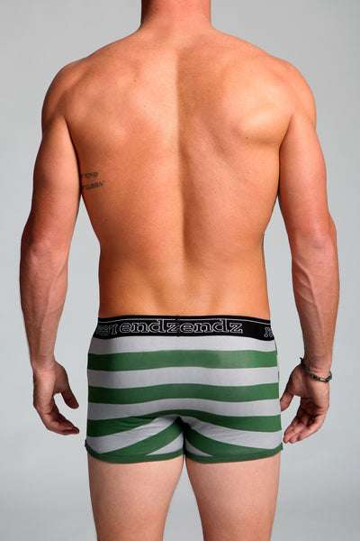 Fly Front Trunk in Green & Grey Stripe